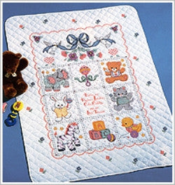 40787 BUCILLA BABY STAMPED CROSS STITCH-BABIES ARE PRECIOUS CRIB COVER-PKG OF 1