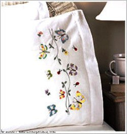45076 BUCILLA STAMPED CROSS STITCH AND EMBROIDERY-PILLOWCASE PAIRS-BUTTERFLIES IN FLIGHT