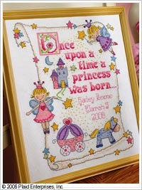 45328 BUCILLA BABY COUNTED CROSS STITCH - BIRTH RECORDS-PRINCESS