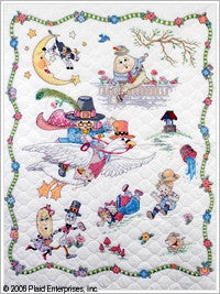 45359 BUCILLA BABY COUNTED CROSS STITCH-CRIB ENSEMBLES-MARY ENGELBREIT-MOTHER GOOSE CRIB COVER