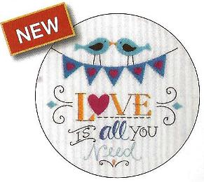 WM47643E BUCILLA STAMPED FELT & FONT LOVE IS ALL YOU NEED-PKG OF 3