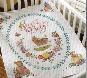 47726 BUCILLA BABY STAMPED CROSS STITCH-SWEET BABY CRIB COVER