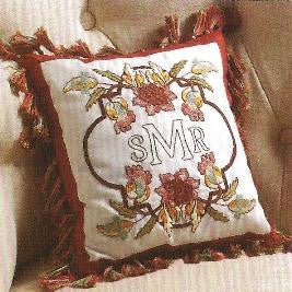 47775 STAMPED EMBROIDERY CROSS STITCH-MONOGRAM PILLOW KIT-WAVERLY COLLECTION-CHARLESTON CHIRP