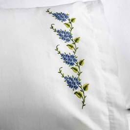 47932E STAMPED EMBROIDERY PILLOW CASE PAIR-FORGET ME KNOTS