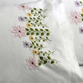 47934E STAMPED EMBROIDERY PILLOW CASE PAIR-PINK FLOWERS