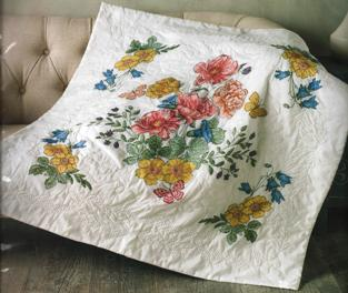 49055 BUCILLA STAMPED CROSS STITCH-LAP QUILT-FLOWERS FROM THE GARDEN (NO FLOSS)