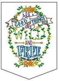 49131E BUCILLA STAMPED EMBROIDERY BANNER - LILY & VAL DESIGN - WILD AND FREE-PKG OF 3