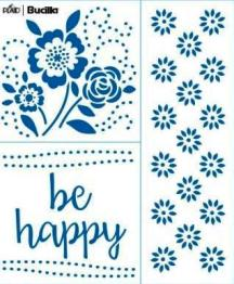49136E FASHION EMBROIDERY TEMPLATE-BE HAPPY-PKG OF 2
