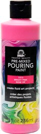 7213 FOLKART PRE-MIXED MARBLING POURING PAINT-BRIGHT PINK 8 OZ.-PKG OF 3