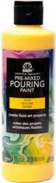 7215 FOLKART PRE-MIXED MARBLING POURING PAINT-YELLOW 8 OZ.-PKG OF 3