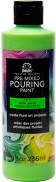 7217 FOLKART PRE-MIXED MARBLING POURING PAINT-SOUR APPLE 8 OZ.-PKG OF 3