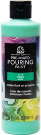 7218 FOLKART PRE-MIXED MARBLING POURING PAINT-GREEN 8 OZ.-PKG OF 3