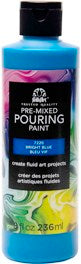 7220 FOLKART PRE-MIXED MARBLING POURING PAINT-BRIGHT BLUE 8 OZ.-PKG OF 3
