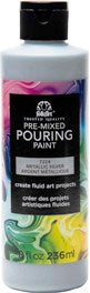 7224 FOLKART PRE-MIXED MARBLING POURING PAINT-SILVER 8 OZ.-PKG OF 3