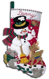 "84951I BUCILLA FELT APPLIQUE 18"" STOCKING-SNOWMAN AND FRIENDS"