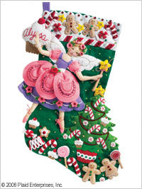 "85431 BUCILLA FELT APPLIQUE 18"" STOCKING-SUGAR PLUM FAIRY"
