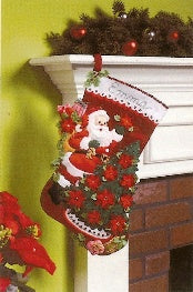 "86142 BUCILLA FELT APPLIQUE 18"" STOCKING-POINSETTIA TREE"