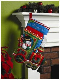"86147 BUCILLA FELT APPLIQUE 18"" CHRISTMAS STOCKING-CANDY EXPRESS"