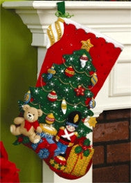 "86303 BUCILLA FELT APPLIQUE 18"" CHRISTMAS STOCKING-UNDER THE TREE"