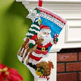 "86647 BUCILLA FELT APPLIQUE 18"" STOCKING-NORDIC SANTA"