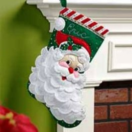 "86648 BUCILLA FELT APPLIQUE 18"" STOCKING-JOLLY SAINT NICK"
