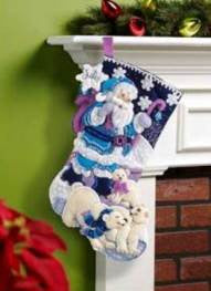 "86653 BUCILLA FELT APPLIQUE 18"" STOCKING-ARCTIC SANTA"