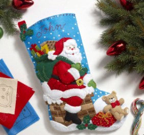 "86656 BUCILLA FELT APPLIQUE 18"" CHRISTMAS STOCKING-DOWN THE CHIMNEY"