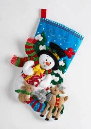 "86657 BUCILLA FELT APPLIQUE 18"" CHRISTMAS STOCKING-FOREST FRIENDS"