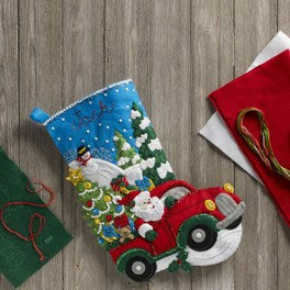 "86663 BUCILLA FELT APPLIQUE 18"" CHRISTMAS STOCKING-THE CHRISTMAS DRIVE"