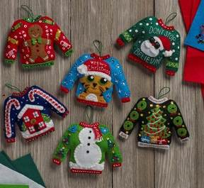 86674 BUCILLA FELT APPLIQUE CHRISTMAS ORNAMENTS-UGLY SWEATERS-SET OF 6