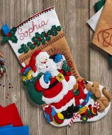 "86702 BUCILLA FELT APPLIQUE 18"" STOCKING-SANTA'S VISIT"