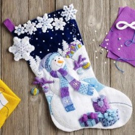 "86703 BUCILLA FELT APPLIQUE 18"" STOCKING-FROSTY NIGHT"