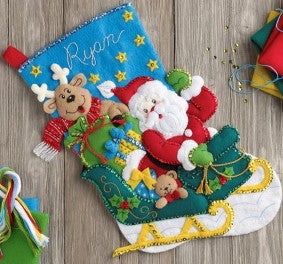 "86706 BUCILLA FELT APPLIQUE 18"" STOCKING-SANTA'S HELPER"