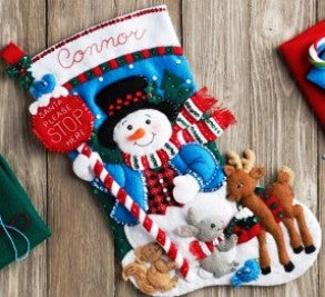 "86707 BUCILLA FELT APPLIQUE 18"" STOCKING-SANTA STOP HERE"