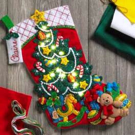 "86710 BUCILLA FELT APPLIQUE 18"" CHRISTMAS STOCKING-CHRISTMAS TREE SURPRISE WITH LIGHTS"