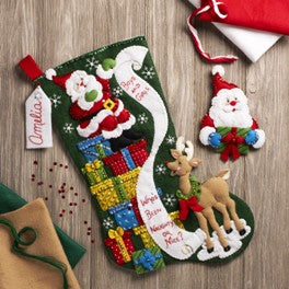 "86712 BUCILLA FELT APPLIQUE 18"" STOCKING-THE LIST"