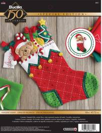 "86815 BUCILLA FELT APPLIQUE 18"" STOCKING-HOLIDAY TEDDY"