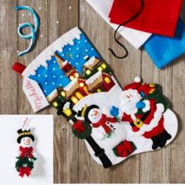 "86818 BUCILLA FELT APPLIQUE 18"" STOCKING-CHRISTMAS VILLAGE WITH STRING LIGHTS"