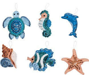 86958E BUCILLA FELT APPLIQUE CHRISTMAS ORNAMENTS-UNDER THE SEA-SET OF 6