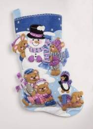 "86975 BUCILLA FELT APPLIQUE 18"" STOCKING-PLAYING IN THE SNOW"
