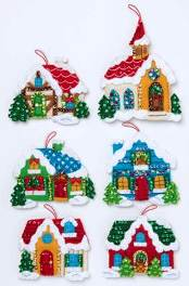89218E FELT APPLIQUE CHRISTMAS ORNAMENTS-CHRISTMAS VILLAGE-SET OF 6