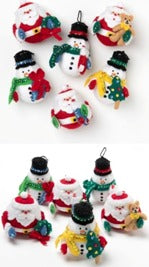 89221E FELT APPLIQUE CHRISTMAS ORNAMENTS-ROLY POLY CHRISTMAS-SET OF 3