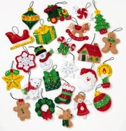 89222E FELT APPLIQUE CHRISTMAS ORNAMENTS-CHRISTMAS MINIS-SET OF 25