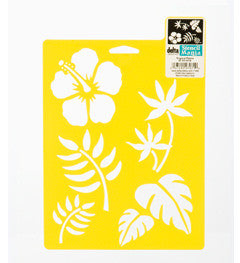 970710710 DELTA STENCIL MANIA TROPICAL PLANTS-PKG OF 3