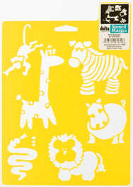 970790710 DELTA STENCIL MANIA WILD ANIMALS-PKG OF 3