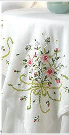 45179 BUCILLA STAMPED CROSS STITCH-TABLE TOPPER-BRIDAL BOUQUET