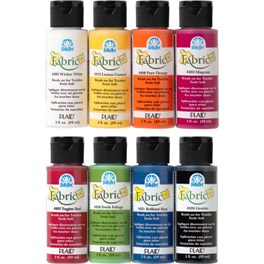 FAB8SET FOLKART FABRIC PAINT 8 PIECE SET-2 OZ. BOTTLES