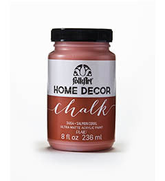 34154 FOLKART HOME DECOR CHALK PAINT SALMON CORAL 8 OZ.-PKG OF 3