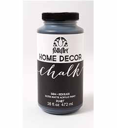 34844 FOLKART HOME DÉCOR CHALK PAINT RICH BLACK 16 OZ.-PKG OF 3