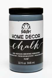 34882 FOLKART HOME DÉCOR CHALK PAINT RICH BLACK 32 OZ.-PKG OF 3